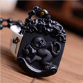 Natural Black Obsidian Pendant Carved Chinese Zodiac Smart Monkey Pendant Bead Necklace Lucky Amulet Men Women's Jade Jewelry