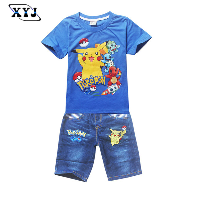 2016 Children Pokemon Costume For Baby Kids Pokemon Shirt +Jeans Shorts For Boys Pikachu Sportwear Pokemon Go Clothing Set