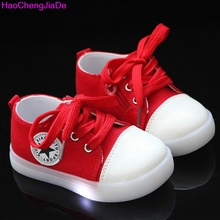 HaoChengJiaDe Boys Girls Sport Fashion LED Shoes Children Luminous Shoes New Stars Children's Kids Casual Canvas Toddler Shoes