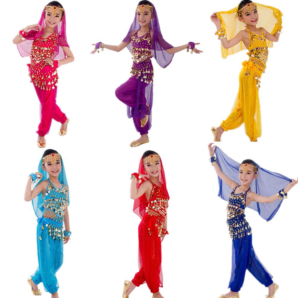 Belly-Dance-Costumes-Set Belly Dancing India Kids 6-Colors Child Girls