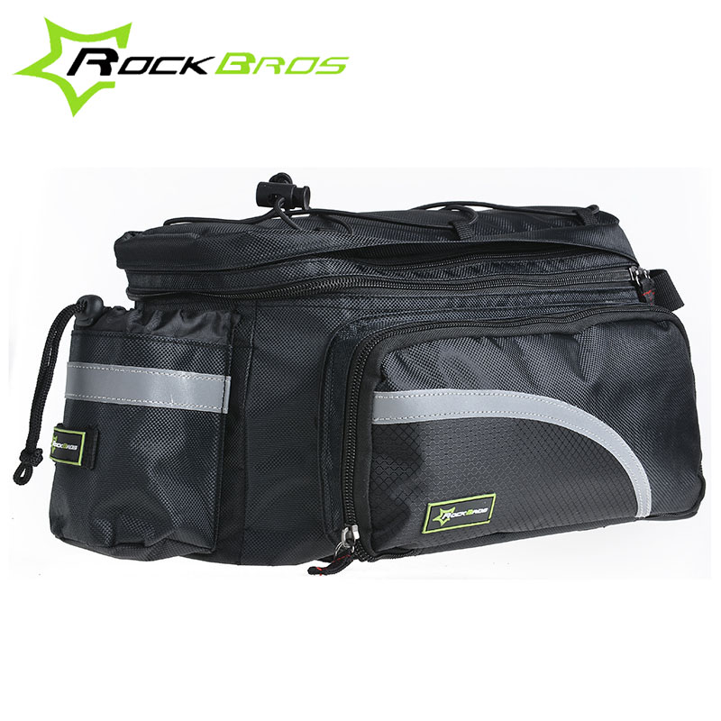 ROCKBROS Larger Capacity With Rain Cover Mountain Bike Bicycle Bicicleta Bag Rear Carrier Bags Rear Pack Trunk Pannier Package rockbros bicycle rack bag full waterproof high capacity mountain bike accessories cycling rear basket panniers bike luggage bags