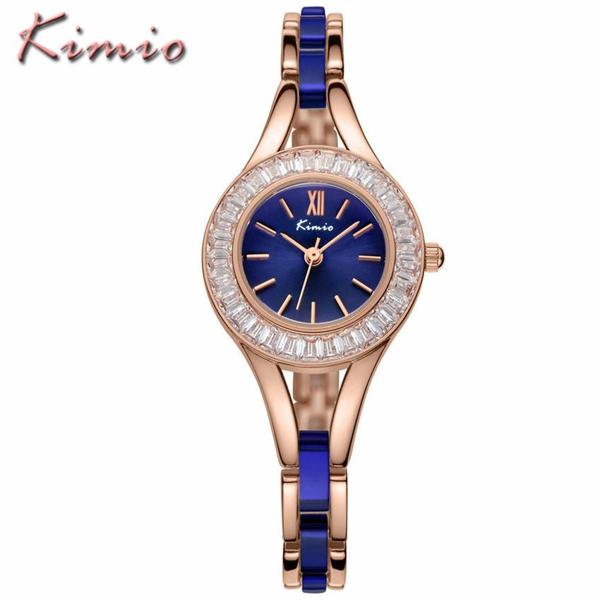 Prix pour KIMIO Marque Business Casual Lady Strass Montres Femmes Robe Bracelet Montres En Acier Inoxydable Étanche Quartz Montre