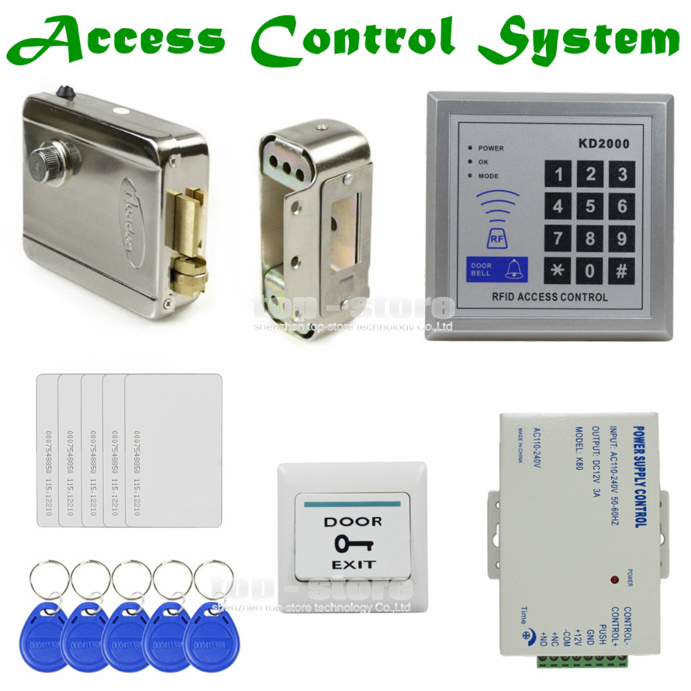 DIYSECUR Full Kit Set 125KHz RFID Keypad Access Control System Security Kit + Electric Lock + Exit Button KD2000 diysecur 280kg magnetic lock 125khz rfid password keypad access control system security kit exit button k2
