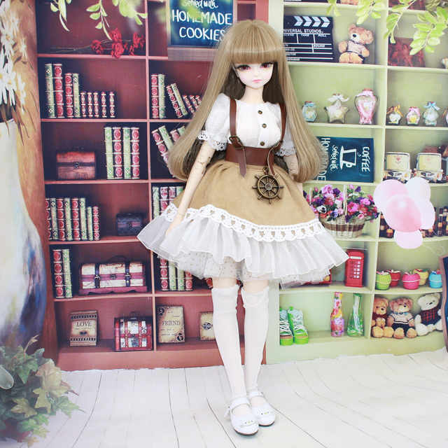 Clothes for  1/4 BJD 45cm Outfit Lace Dress White Shirt with Stocking Forturn Days Special Offe Free Shipping