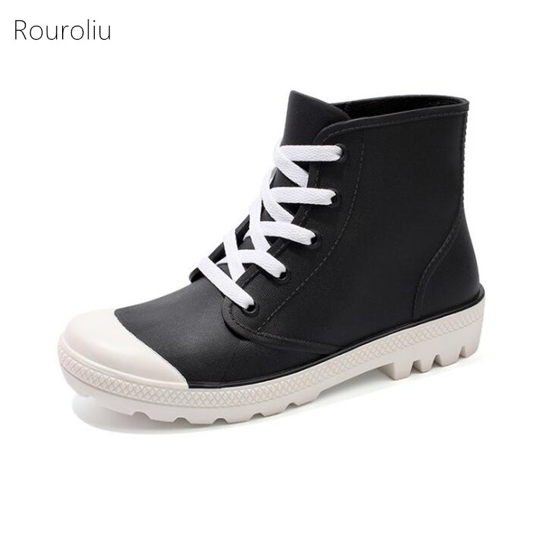 Rouroliu Women Non-Slip Ankle Rainboots Autumn Candy Color Water Boots Lace-Up Waterproof Platform Shoes Woman Wellies FR40