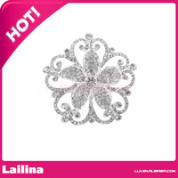 Fashion 100pcs/lot 60mm Silver with Clear Iced Out Flower Brooch & Pin