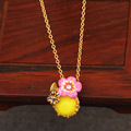 France New Arrivals Flower Enamel Glaze Yellower Crystal Gold Plated Women Necklace Free Shipping