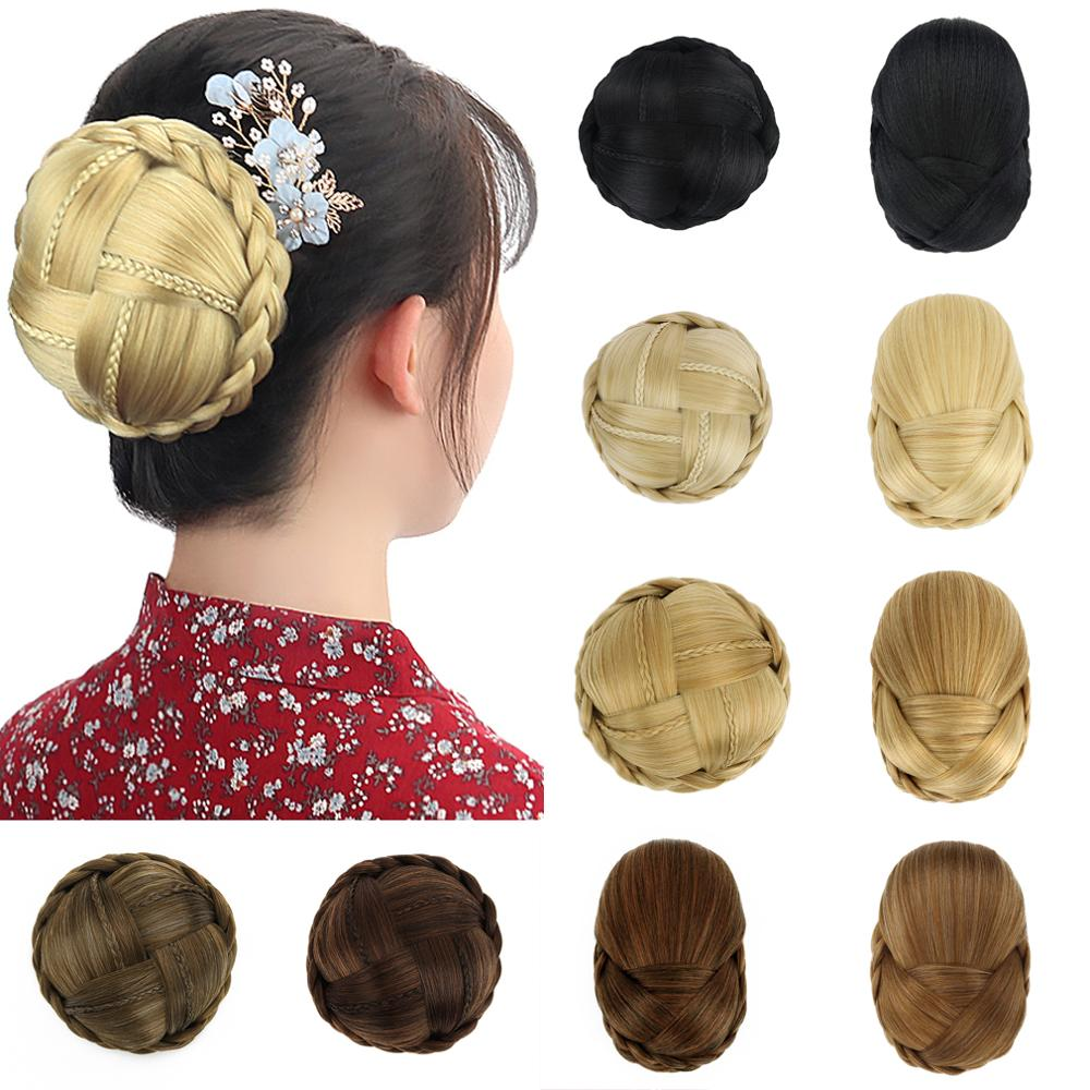 Free Beauty Braided Bun Cover Clip In Blonde Black Synthetic Hair Extension Brown Curly Rubber Band Donut Chignon for Girls