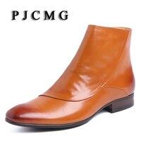 PJCMG Mode Comfortabele Hoge Kwaliteit Zwart/bruin Handgemaakte Waterdichte Echt Leathe Zip Lente/Herfst Platte Enkel Mannen Laarzen