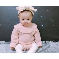 MYUDI Baby Sweater Autumn Winter Girl Lotus Collar Warm Knitted Pullover Children Sweater Romper One Piece