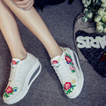 Size 35-40 New Canvas Embroider Shoes Woman Vulcanize Flat Sole Platform Round Toe Casual Leisure Shoes SMYXHX-B0175