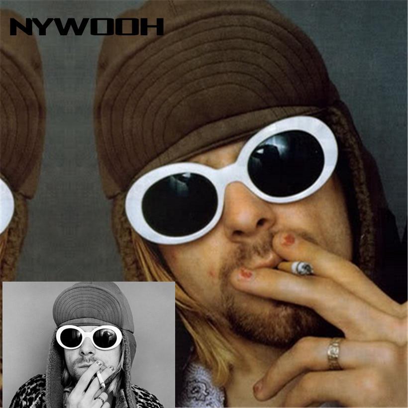 NYWOOH Clout Goggles Kurt Cobain Glasses Men Women Luxury Brand Designer Oval Sunglasses Female Male NIRVANA Sun Glasses UV400
