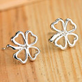 ES495 Brincos Women Silver Plated Leaf Earing Heart LOVE Fashion Metal Pierced Stud Earrings Jewelry pendientes mujer