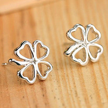 ES495 Brincos Women Silver Plated Leaf Earing Heart LOVE Fashion Metal Pierced Stud font b Earrings
