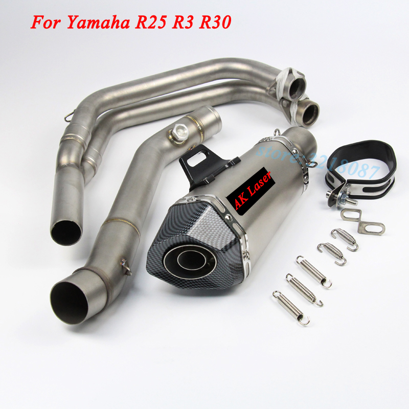 Slip On For YANMAHA R3 R25 Motorcycle Exhaust Escape Moto Laser Marking Muffler Full System Front Middle Link Pipe For YZF-R25 3