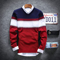 2016New winter men's clothing  cultivate one's morality v-neck sweater tide teenagers sets color matching men sweater