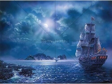 Resin crystal rhinestone cross stitch diy 5d diamond painting Ship Marine landscape embroidery square Mosaic decor gift