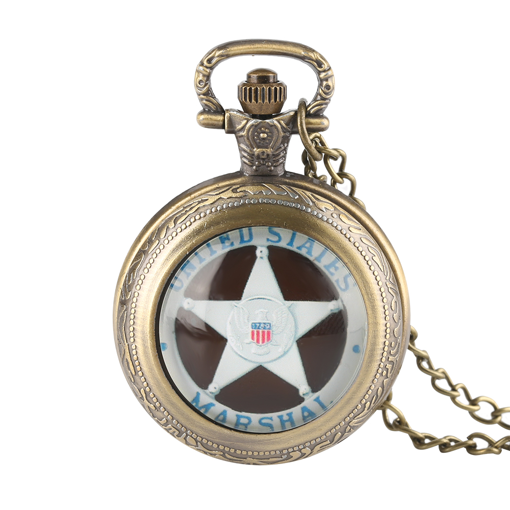 Antique Watches United States 1789 Marshal Whirling Case Trendy Quartz Pocket Watch Men Women Stars Boy Girl Gift