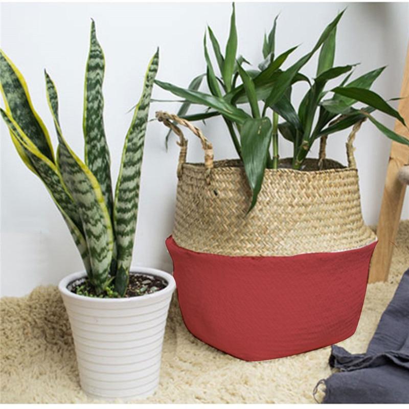 Foldable Rattan Straw Plant Basket Flower Pot Planter Hanging Wicker Storage Baskets Laundry Holder Home Garden Accessaries