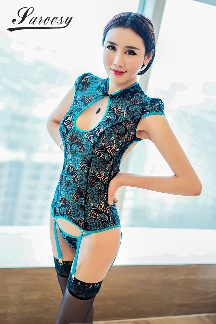 2018 New Sexy Lingerie for Women Cheongsam Garter Belt Detail Erotic Peacock Feathers Style Back Adjustable Bandage Plus Size