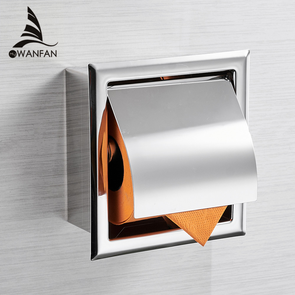 Stainless Steel304 Toilet Paper Holder Chrome Wall Mounted Concealed Bathroom Roll Paper Box Porta Papel Higienico WF-18030