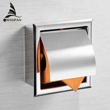 Stainless Steel304 Toilet Paper Holder Chrome Wall Mounted Concealed Bathroom Roll Paper Box Porta Papel Higienico WF-18030 - DISCOUNT ITEM  50% OFF All Category