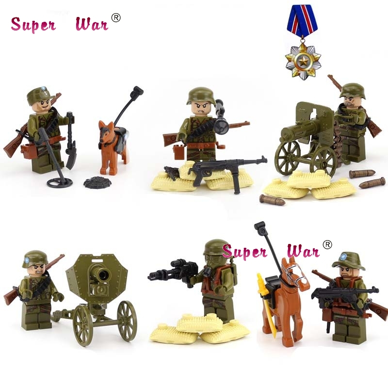 6pcs Military Modern Combat World War 2 Amy Soldiers Expeditionary Force building blocks action bricks toys for children ...