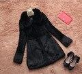 Genuino verdadero/naturales completa pelt Rabbit Fur Coat invierno de Las Mujeres de Largo moda chaqueta de piel de piel entera de piel esquilada capa más tamaño