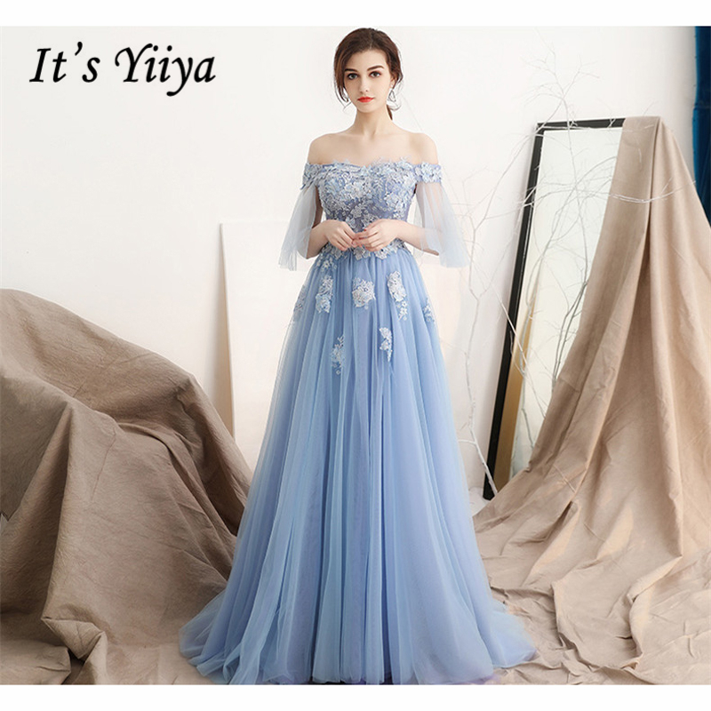 It's Yiiya   Evening     Dresses   Short Sleeve Boat Neck Embroidery 2018 Custom made A-Line Floor Length Formal   Dress   LX973