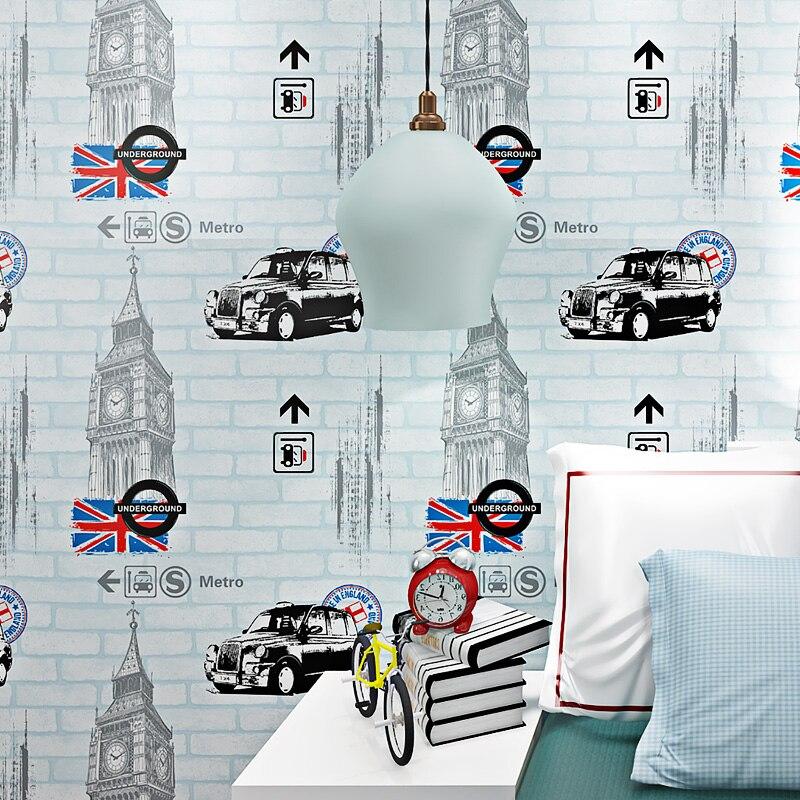 Offre spéciale Cartoon Cars en relief brique mur papier peint 3D pour enfants chambre chambre enfants papier peint rouleaux confortable bleu rose Beige