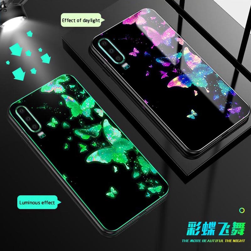 Luminous Glass Case For Huawei P30 Pro mate 20 P20 Lite nova3 luxury back cover For Honor 10 V10 8X 7X C V8 V9 9 Lite Phone Case