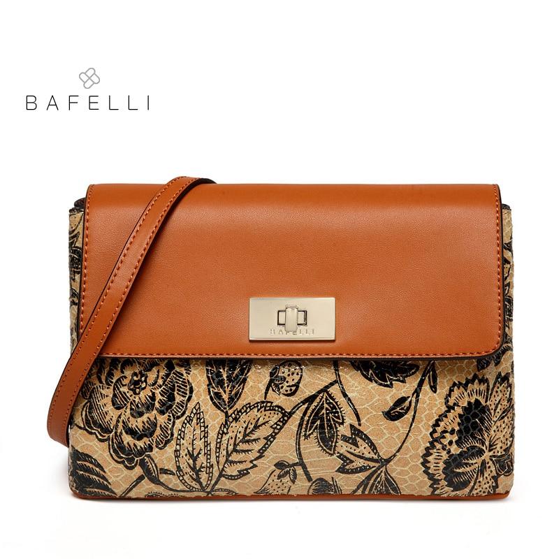 BAFELLI 2018 split leather shoulder bag vintage flowers pattern for women crossbody bag bolsa mujer women messenger bag stylish various flowers pattern chiffon sarong for women