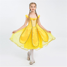 Fancy Girls Gold Belle Princess Costume Movie Beauty And The Beast Cosplay Halloween Kids Children Dress Clothing