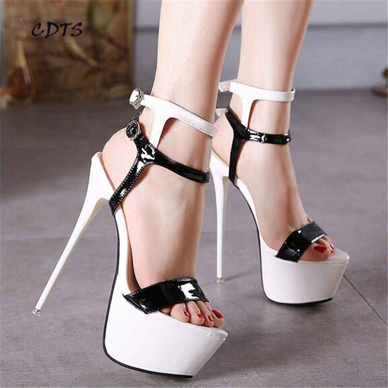 zapatos mujer Ladies Double T-strap Sandals 18cm ultra thin high heels fashion lacing sexy  shoes woman party Platform pumps cdts 35 45 46 summer zapatos mujer peep toe sandals 15cm thin high heels flowers crystal platform sexy woman shoes wedding pumps