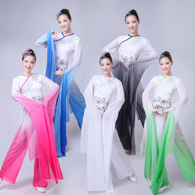 Chinese Folk Dance Classical Dance Costumes Women Water Sleeve Performance Clothing Girls Long Sleeve Yangko Dance Costumes