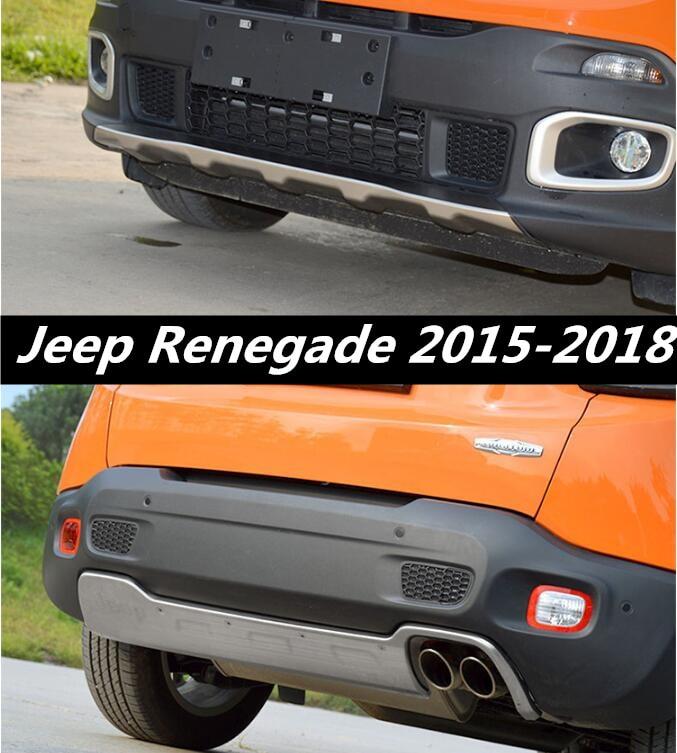 Otomobiller ve Motosikletler'ten Tamponlar'de Paslanmaz Çelik Ön + Arka Tampon Difüzör Koruyucu güvenlik Skid Plate Jeep Renegade 2015 2016 Için 2017 2018 EMS TARAFıNDAN title=