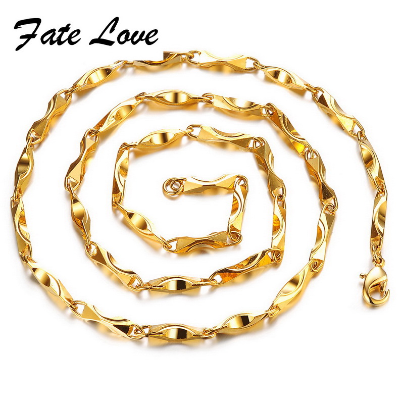 Fate Love Rock GP Filled 23.23 Inch Figaro Chain Gold Color Long ...