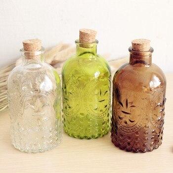 新 2019 雑貨レトロ花瓶彫刻コルクボトルガラスボトル卓上花瓶コルク
