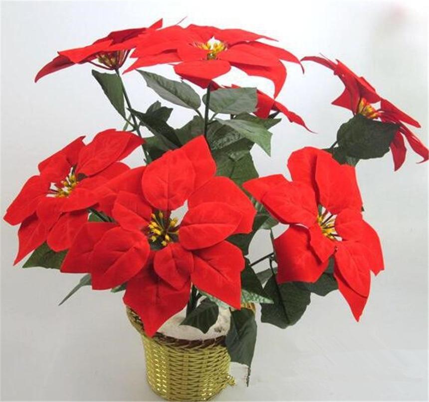 6 adet Yapay Poinsettia Noel Çiçek 48 cm kırmızı / altın / - Tatiller ve Partiler Için - Fotoğraf 1