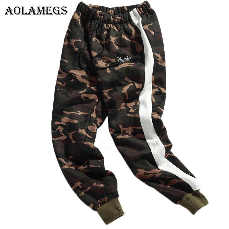 Aolamegs Pants Men Camouflage Striped Pants Fleece Thick Trousers Pants Mens Tactical Elastic Waist Fashion Joggers Sweatpants