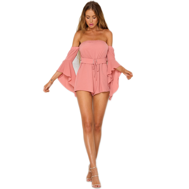 8382e5bf79 Flare Sleeve Playsuits Rompers Women Boho Jumpsuit Sexy Elegant Pink  Overalls with Sashes Casual Ruffle 2018 Summer Playsuit