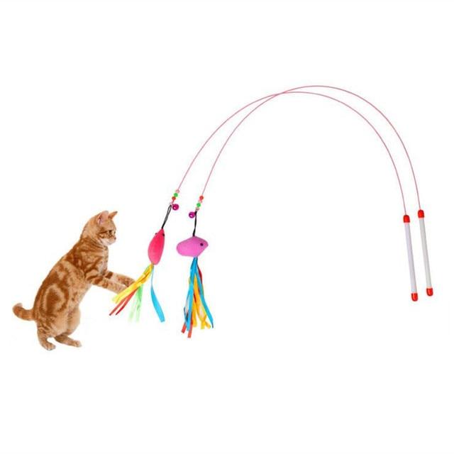 1 pz metallo elastico filo di Gatto del mouse Bastone e pesce pet toy pesce pelu