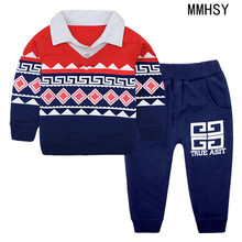 MMHSY boy  kids baby spring autumn spring set 100%cotton For 1 to 5years old child sports clothes Long sleeve top+pants 2pcs set