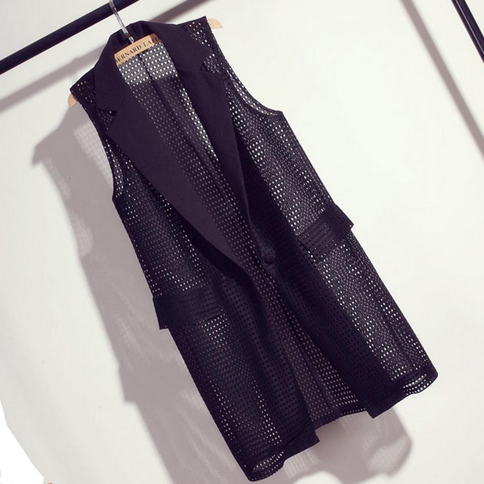 Naised falsePocket Pikk Vest mantel pluss suurus M-4XL Elegantne kontorirõivad Varrukateta jakk Naiste vestid Colete Feminino