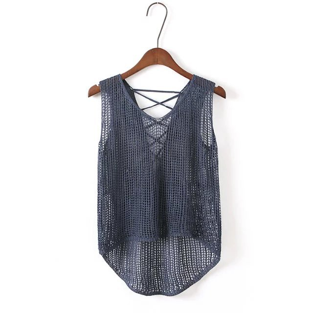 2016 Otoño Mujeres Blusas de Señora Casual Shirts Backless Atractivo de La Correa de Punto Tapas de La Blusa de las señoras Chaleco BI00142