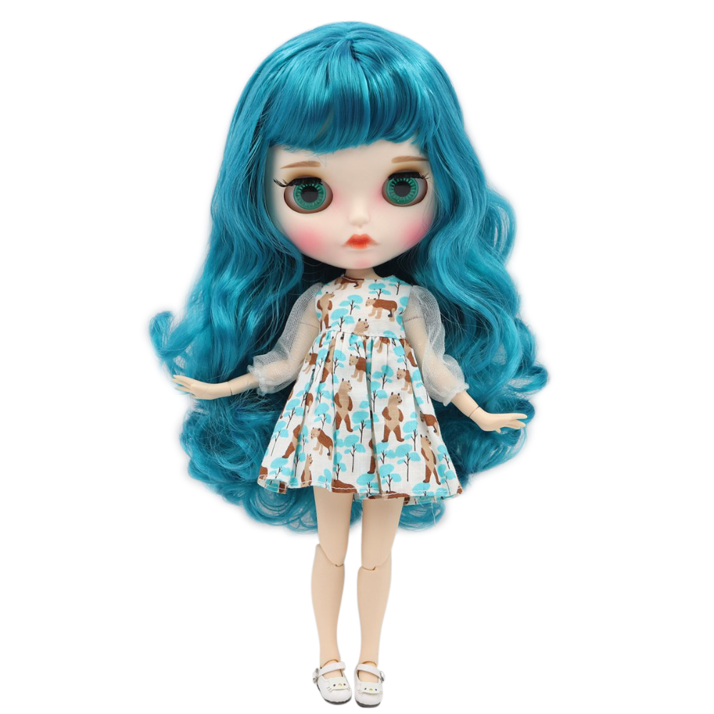 factory blyth doll 1 6 bjd white skin joint body blue hair new matte face Carved