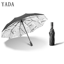 YADA Luxury Windproof Folding Sun Rain Vintage Automatic Newspaper 10K Big Umbrella For Women Men UV Auto Female YD064