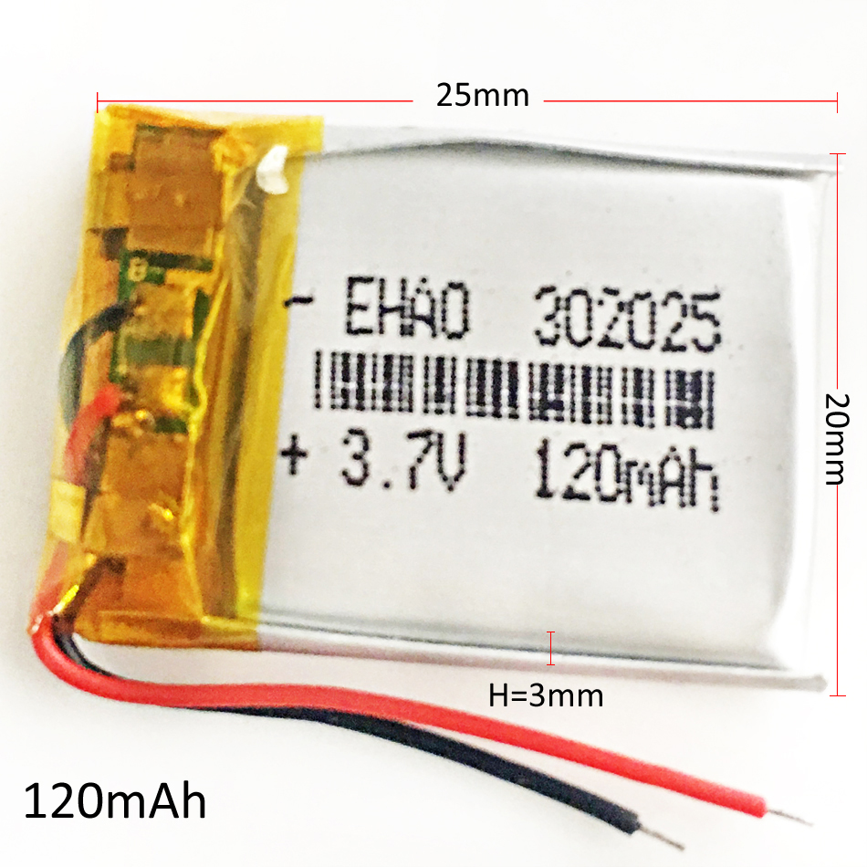 3.7V 120mAh Lithium Polymer LiPo Rechargeable Battery For Mp3 GPS PSP bluetooth headphone headset smart watch <font><b>302025</b></font> image