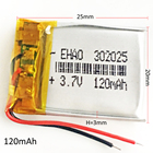 3.7V 120mAh Lithium Polymer LiPo Rechargeable Battery For Mp3 GPS PSP bluetooth headphone headset smart watch 302025