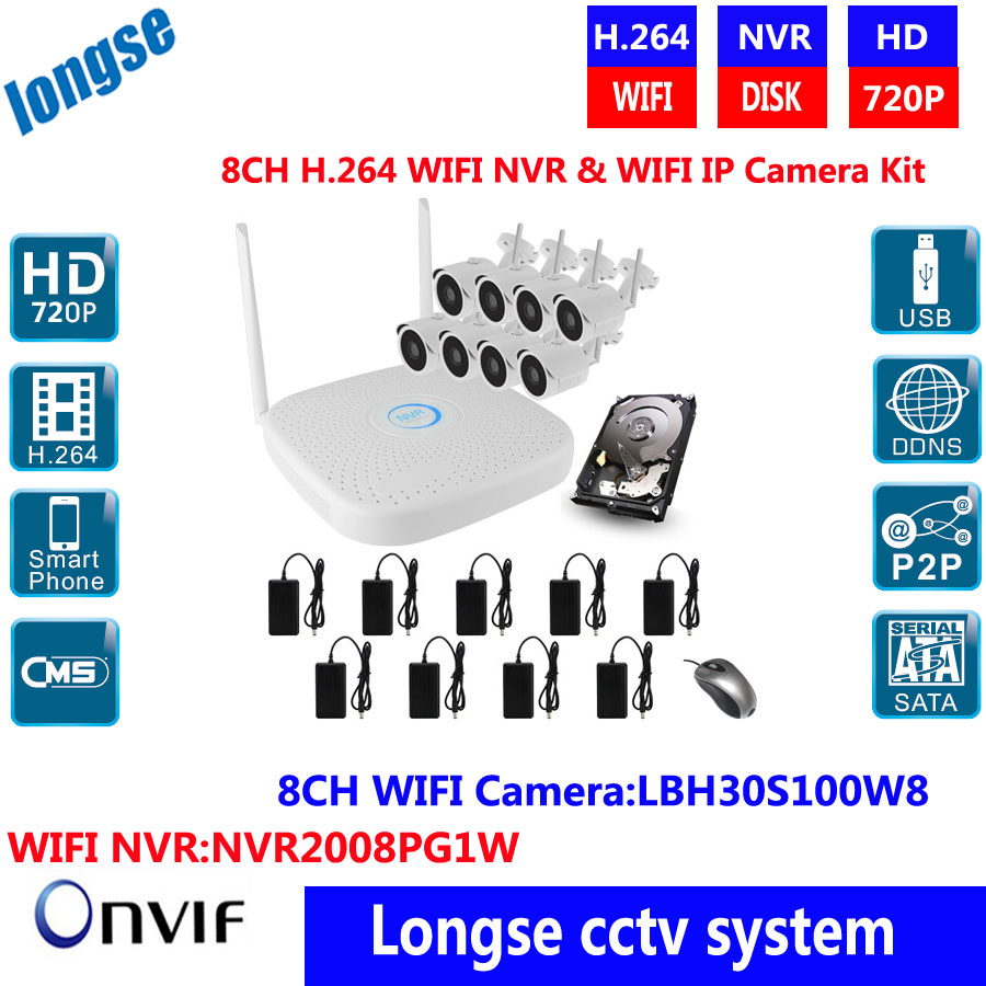 H.264 8CH WIFI NVR KIT 8pcs 1.0MP Waterproof Outdoor Wireless IP Cameras WIFI NVR ONVIF P2P Plug Play Surveillance System 8ch 5mp 3mp 1080p h 264 onvif wifi 3g with smart function nvr